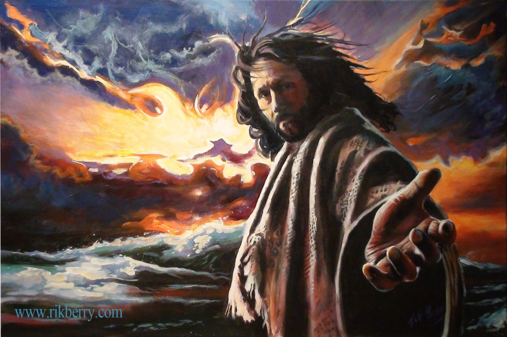 Christ reaching out to you in the stormy waters. This seems to be the view from Peter's eyes who was sinking as Christ walked on the water.