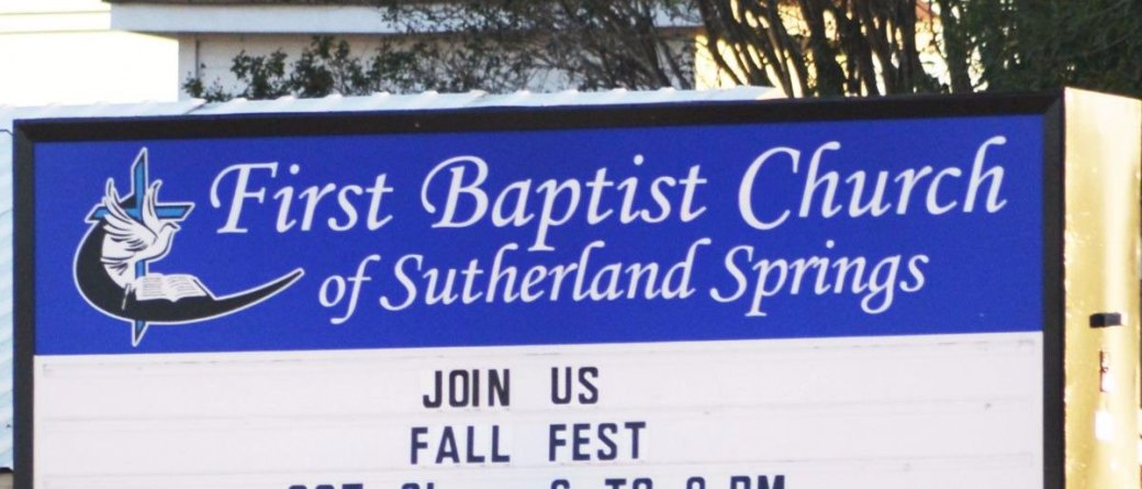 A photo of the sign of First Baptist Church of Sutherland Springs