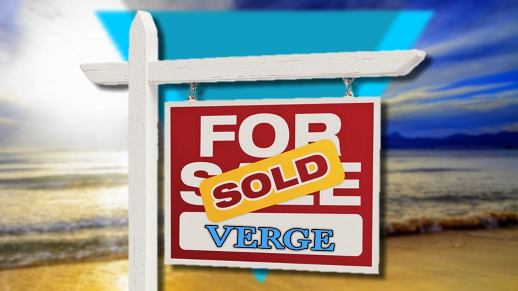 "A for sale sign in front of a beach horizon bearing a ""Sold"" sticker for Verge (XVG)."