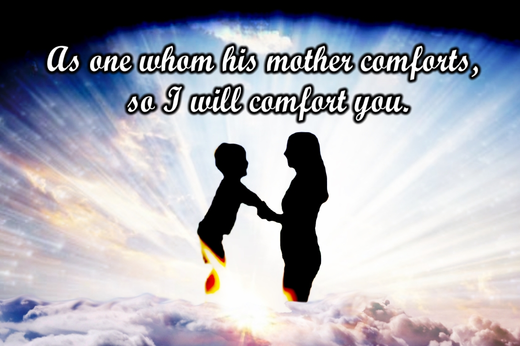 Mother and child holding another in Heaven with caption,