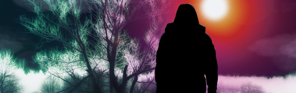 Woman walking toward bright sky from gloomy nightmarish forest