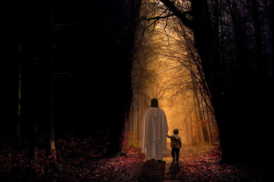 Jesus walking away from us with a child in hand down a dark wooded path toward apparent light on the horizon